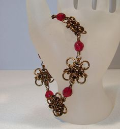 Vintage Bronze Ruby Glass Bead Flower Chain by ArtisticTouches, $40.00