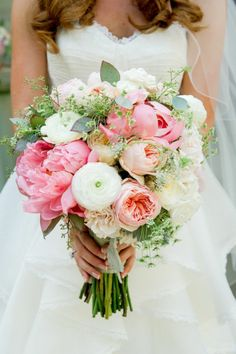 beautiful bridal bouquet, peonies, ranunculus and dill - Wedding // Hochzeit - brautkleid Peony Bouquet Wedding, Bridal Bouquet Pink, Spring Wedding Flowers, White Wedding Bouquets, Floral Wedding, Trendy Wedding, Purple Wedding, Wedding Ideas, Perfect Wedding