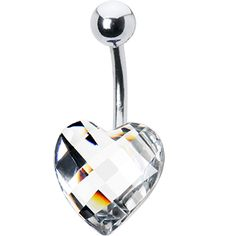 Sparkling Clear Prism Heart Belly Ring | Body Candy Body Jewelry #bodycandy #piercings #bellyring