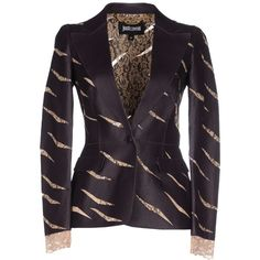 Just Cavalli Blazer ($895) ❤ liked on Polyvore featuring outerwear, jackets, blazers, deep purple, leather jacket, single button blazer, just cavalli blazer, 100 leather jacket and just cavalli