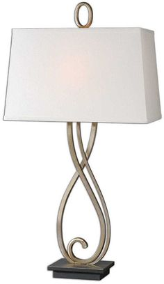 Buy the Uttermost 26341 Antiqued Silver Champagne with Dark Bronze Direct. Shop for the Uttermost 26341 Antiqued Silver Champagne with Dark Bronze Ferndale 1 Light Table Lamp and save. Light Table, Lamp Light, A Table, Light Bulb, Transitional Table Lamps, Metal Table Lamps, Traditional Decor, Fabric Shades, Lamp Shades