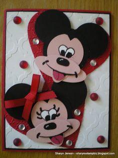Sharyn's Stamp Biz Mickey Mouse et Minnie Disney Cards, Disney Diy, Disney Theme, Disney Stuff, Mickey Font, Kids Punch, Punch Art Cards, Kids Birthday Cards, Happy Birthday