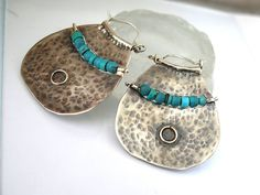 Large Silver Turquoise Hoops Sterling Silver by rioritajewelry