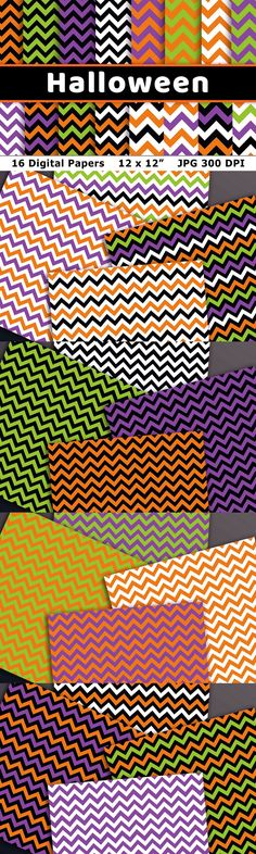 Halloween chevron digital papers. This digital zig zag background pattern set includes 16 printable Halloween papers with a chevron pattern in a variety of colors! These digital papers would make great backgrounds for DIY Halloween party invitations, or could be used to make a lovely scrapbook layout! ▼ You might also like our other Halloween Digital Paper! ▼ - ▶ YOUR PURCHASE INCLUDES - 16 Halloween digital papers - Each paper is 12 x 12 inches... Chevron Patterns, Great Backgrounds, Halloween Party Invitations, Digital Papers, Diy Halloween, Background Patterns, Zig Zag, Printable, Clip Art