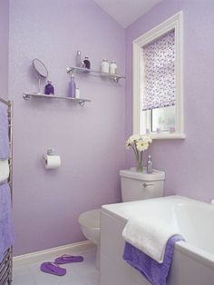 Check Out 17 Lavender Bathroom Design Ideas You'll Love. I really can't think of a better place to decorate with lavender than your bathroom. Lavender Bathroom, Girls Bathroom, Purple Bathrooms Designs, Simple Bathroom, White Bathroom, Lavender Room, Painting Bathroom, Bathroom Design, Bathroom Decor