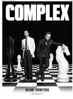 Complex Magazine. Kid Cudi & Jeremy Piven, chessboard