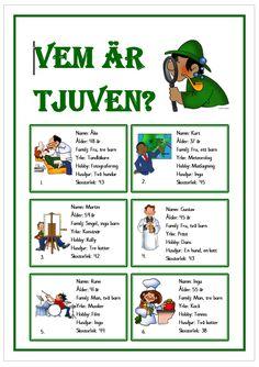 Vem är tjuven? School Games, School S, Primary School, Teacher Education, Kids Education, Learn Swedish, Detective, Free Teaching Resources, Teaching English