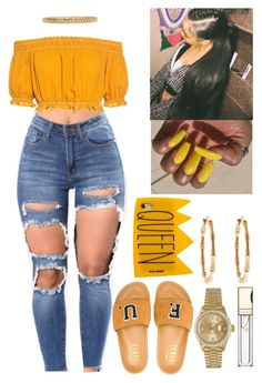 """Black Girl Magic✨"" by flawlessgirlty ❤ liked on Polyvore featuring Apiece Apart, Puma, Gucci, Rolex, Clarins, Yeah Bunny and AMBUSH"