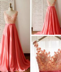New Arrival unique chiffon lace round neck long prom dress, formal dress