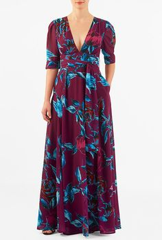 I <3 this Rose print georgette banded empire maxi dress from eShakti