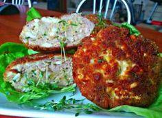 Mielone mięsno - jajeczne Dumplings, Salmon Burgers, Baked Potato, Chili, Potatoes, Chicken, Meat, Baking, Ethnic Recipes