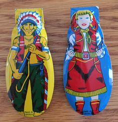 2 Vintage Tin Metal Toy Clickers Indian Cowgirl Great Condition | eBay