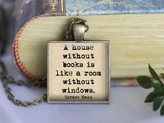 Book lover quote Horace Mann quote necklace or by WordArtJewelry