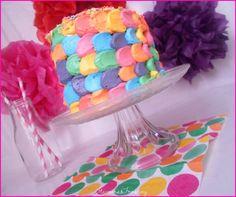 Mini Tarta de colores arco iris Rainbow coloured cake