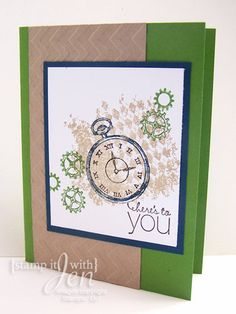Cool Masculine Card using Stampin' Up Set Clockworks