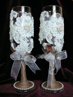 Customized Rustic Wedding Toasting Flutes Champagne by Mydaisy2000, $48.00 w/o the burlap & pearls at the bottom