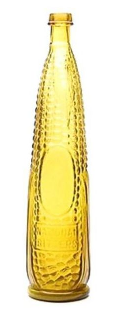 National Bitters, Ear of Corn, Amber Topaz, 12 inch. National Bittersib ear of corn figural bottle, America, 1860 to 1880