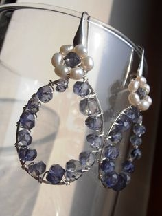 SAPPHIRE drops white pearls flowers sterling silver by LorellaDia, $64.00