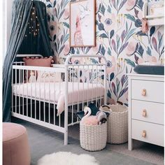 Moody Floral Self-Adhesive Wallpaper - Project Nursery floral wallpaper nursery, canopy over crib white metal crib, girl nursery ideas, whimsical nursery, Baby Bedroom, Baby Room Decor, Girls Bedroom, Room Baby, Baby Room Girls, Baby Nursery Ideas For Girl, Bedrooms, Baby Girl Nursery Decor, Decorating Rooms
