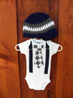 Navy and Grey Argyle Baby Boy Tie Onesie or Shirt with Suspenders and Crocheted Hat - Size nb to 12 yrs. $36.00, via Etsy.
