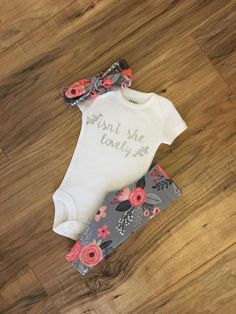 This item is unavailable Isn't She Lovely Coral and Gray Floral Baby Girl Outfit Baby Girl Princess, Cute Baby Girl, Baby Boy, Baby Girls, Teen Boys, Toddler Girl, Baby Outfits, Kids Outfits, Organic Baby Clothes