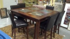 Pub Table with slate inserts and 6 chairs