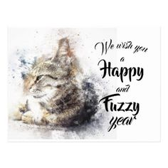 Vintage Cat Happy New Year Wishes Postcard - postcard post card postcards unique diy cyo customize personalize