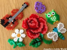 Jennifer's Little World blog: Some more mini Hama bead projects (rose, violin, flowers, dragonfly, owl, Easter egg)