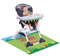 The smiling, cheerful faces of the Jungle Buddies monkey, giraffe, toucan, frog, alligator, hippo, and toucan all want to join in on the party fun at your Jungle Buddies party!  Included in the 3-piece High Chair Jungle Buddies Kit is:1 mini plastic flag banner that measures 31 inches in length to decorate the front of the high chair tray. 1 plastic bib 1 plastic floor mat that measures 48 inches x 30 inches and has �Happy Birthday� printed in red at the center of the floor matThis kit is…