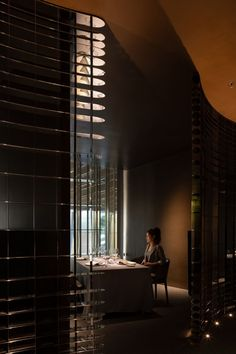 GENTLE L BY ALAN YU Restaurant Stainless Steel Screen, Steel Columns, Different Feelings, French Restaurants, Outside World, Dim Lighting, Bar Areas, Private Room, Design Firms