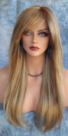 MONOTOP DESIGNER WIG COLOR 24BT18 LONG CLASSIC TIMELESS STYLE WITH WHISPY BANGS #Unbranded #FullWig