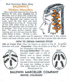 Part 2 - karen torimaru - - Baldwin's Modern Marcellers rubber curlers instructions. Part 2 - karen torimaru Pin Up Makeup, Hair Makeup, 1920s Hair Accessories, Retro Updo, Wet Set, Retro Hairstyles, Wedding Hairstyles, Pin Up Hair, Vintage Ads