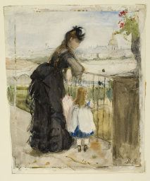 Berthe Morisot French, 1841-1895  On the Balcony, 1871/72  Watercolor, with touches of gouache, over graphite, on off-white wove paper