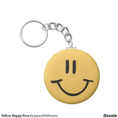 Yellow Happy Face Basic Round Button Keychain