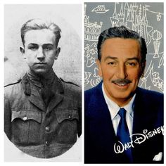 Walt Disney-WW1-rejected by the Army for being too young, he joined the Red Cross. Sent to France for a year where he drove ambulances-1918.