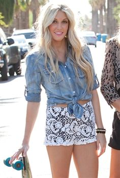 West Coast Wardrobe Night and Day Lace Short and of course a denim shirt