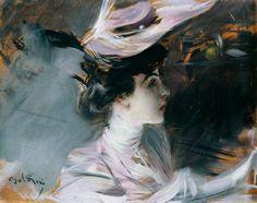 Portrait of Lina Cavalieri with new hat, by Giovanni Boldini (1842-1931)
