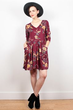 Vintage 90s Dress Burgundy Floral Babydoll Dress Mini Dress 1990s Dress Soft Grunge Dress Hipster Lolita Boho Long Sleeve Dress M Medium L by ShopTwitchVintage #1990s #90s #etsy #vintage #dress #babydoll #mini #floral #soft #grunge #softgrunge