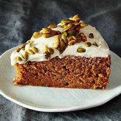 Pumpkin Cake with Cream Cheese Icing and Caramelized Pumpkin Seeds recipe on Food52