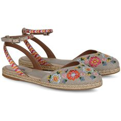 Tabitha Simmons Natural Embroidered Dotty Festival Espadrilles (730 RON) ❤ liked on Polyvore featuring shoes, sandals, multi colored sandals, bohemian sandals, leather espadrille flats, summer sandals and ankle wrap sandals