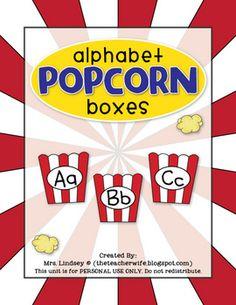 freebie from the Teacher Wife - Alphabet Popcorn Boxes