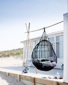 Hanging chair via Jeroen van der Spek: Deck Design, House Design, Design Hotel, Chair Design, Outdoor Spaces, Outdoor Living, White Deck, Relax, Summer Decoration