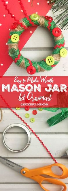 of the Best DIY Christmas Decorations - Easy to Make Wreath Mason Jar Lid Ornament Christmas Crafts For Kids, Diy Christmas Ornaments, Holiday Crafts, Christmas Decorations, Christmas Ideas, Holiday Ideas, Ornaments Ideas, Thanksgiving Crafts, Homemade Christmas