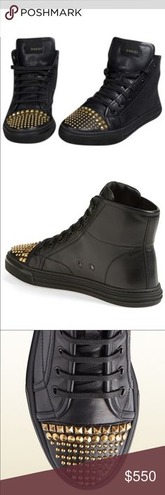 Gucci Studded Sneakers Gucci high top studded sneakers in black and gold in size 8 Gucci Shoes Sneakers