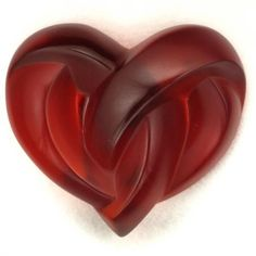 Lalique red heart paper weight