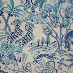 Aesthetic Oiseau: Congo by Clarence House...dynamite blue and white
