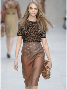 Top Looks from Europe Fall 2013 Fashion Week: Burberry Prorsum | London - Top model Cara Delevingne absolutely rocked this Burberry Prorsum look complete with a fur-print top, heart-embellished undies, and transparent skirt. Not sure if we could pull off this skirt situation, but please do sign us up for that sweater.