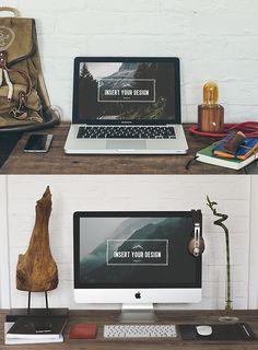 Free Hipster Desktop Mockups PSD