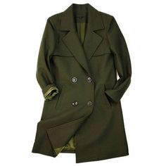 Military Coat with Double Breasted Design ❤ liked on Polyvore featuring outerwear, coats, long military coat, wool blend double breasted coat, wool blend military coat, leather-sleeve coats and green military coat