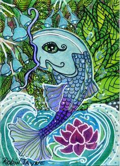 KOI FISH WITH LOTUS FLOWER WATERCOLOR
